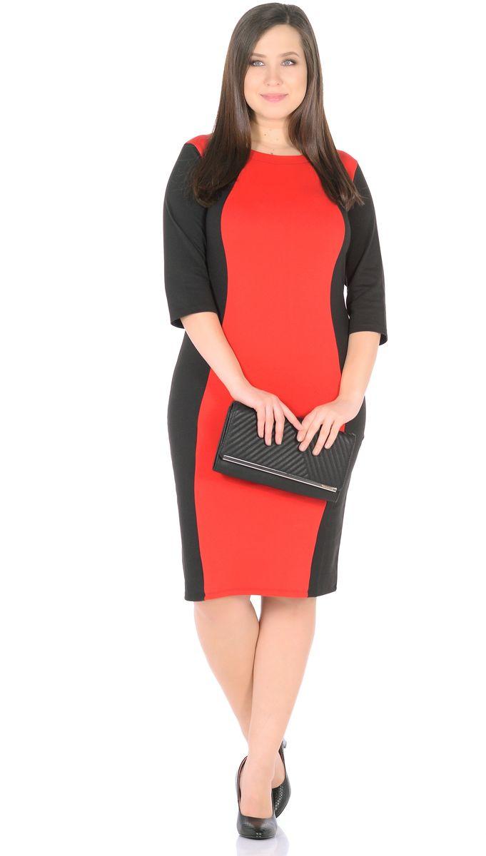 Платье33049-1-36Великолепная модель для работы в офисе, на каждый день. Удобный приталенный силуэт. Контрастная вставка по центру платья подчеркивает элегантность силуэта. Вырез горловины круглый. Рукав 3/4. Длина изделия 100-105 см. Ткань - плотный трикотаж, характеризующийся эластичностью, растяжимостью и мягкостью. Состав ткани: 78% вискоза, 19% полиэстер, 3% эластан. Рост модели на фото 173 см (+ каблук).