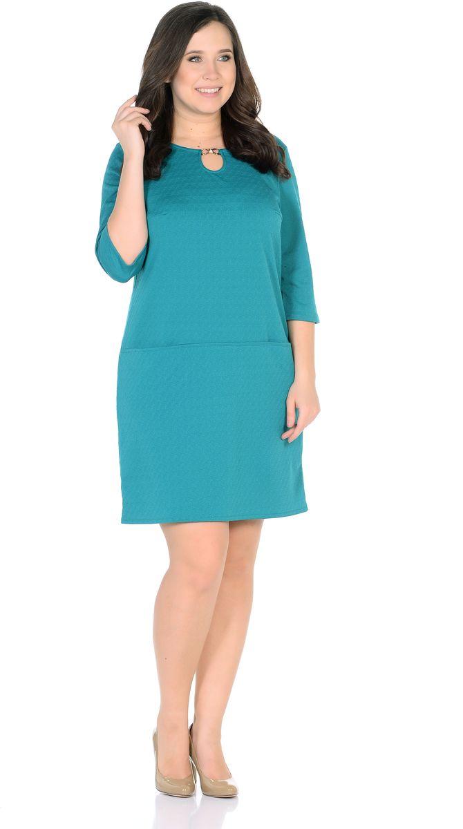 Платье33191-10Однотонное платье прямого силуэта с горизонтальными кармашками на линии бедер из фактурной ткани. Горловину, в виде капельки, украшает золотая пряжка со стразами. Рукав 3/4. Длина изделия 95-104 см. Ткань - плотный трикотаж, характеризующийся эластичностью, растяжимостью и мягкостью. Состав ткани: 72% вискоза 25%полиэфир 3%лайкра. Рост модели на фото 170 см (+ каблук).