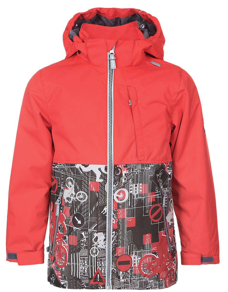 Куртка17660004-70104Куртка для мальчика Huppa Trevor c длинными рукавами, воротником-стойкой и съемным капюшоном на кнопках и липучках выполнена из высококачественного водонепроницаемого и ветрозащитного материала на основе полиэстера. Наполнитель - синтепон. Модель застегивается на застежку-молнию с защитой подбородка спереди. Изделие имеет два прорезных кармана на застежках-молниях и нагрудный карман на застежке-молнии, дополненный узким клапаном. Манжеты рукавов дополнены хлястиками на липучках. Объем низа куртки регулируется при помощи шнурка-кулиски. Куртка дополнена светоотражающими элементами, все швы проклеены. Модель украшена оригинальным контрастным принтом. Вес наполнителя - 40 г.