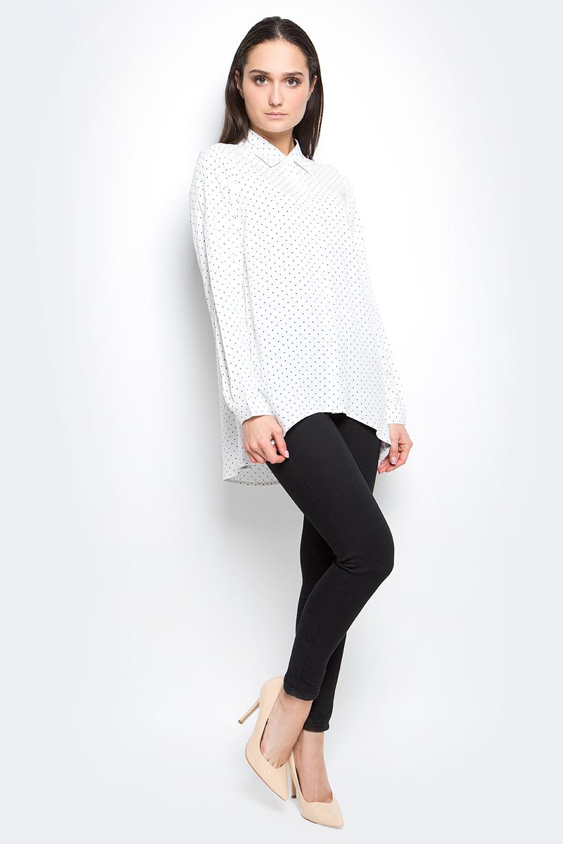 B177040_Milk PrintedРубашка женская Baon выполнена 100% вискозы. Модель с отложным воротником и длинными рукавами застегивается на пуговицы. Оформлено изделие принтом в горох.