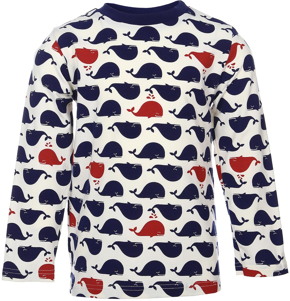 Лонгслив15947Лонгслив для девочки КотМарКот Киты с круглым вырезом горловины и длинными рукавами изготовлен из эластичного хлопка. Горловина дополнена эластичной трикотажной вставкой. Лонгслив оформлен принтом с изображением китов.
