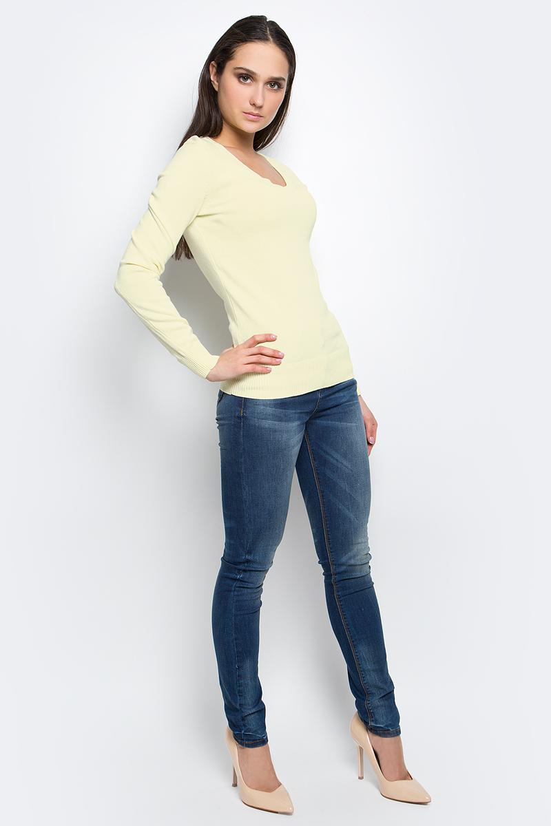 ПуловерB137201_Silver MelangeЭлегантный женский пуловер Baon выполнен из натурального хлопка. Модель с V- образным вырезом горловины и длинными рукавами. Низ и манжеты изделия выполнены мелкой резинкой.
