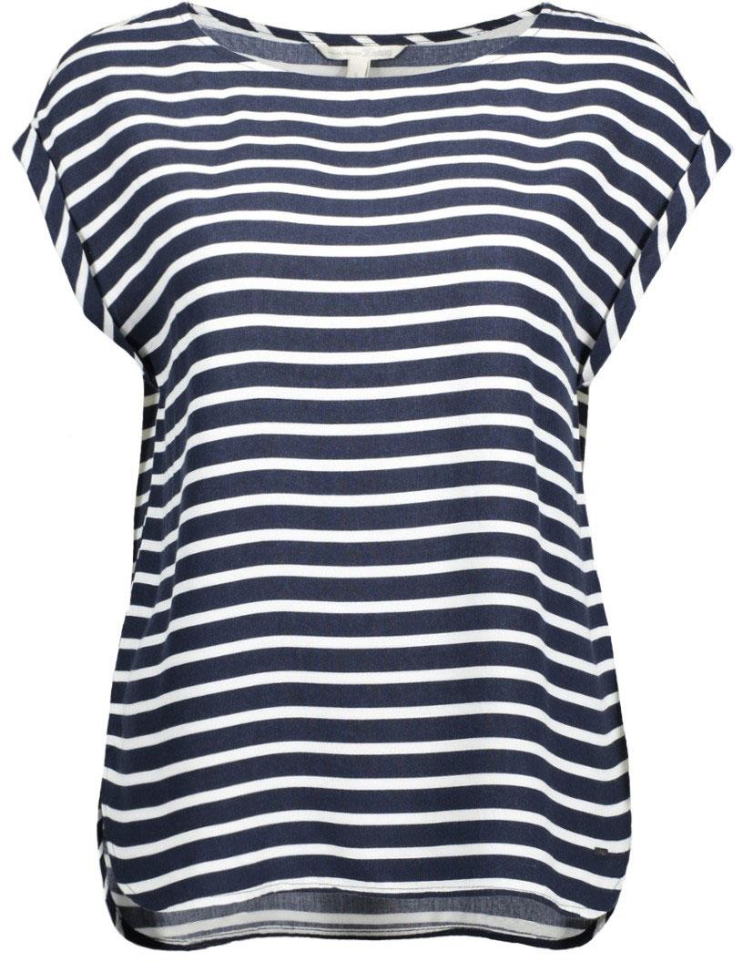 Блузка2032918.09.71_6593Удобная женская блузка Tom Tailor Tom Tailor Denim изготовлена из натуральной вискозы. Модель с круглым вырезом горловины и короткими цельнокроеными рукавами оформлена стильным принтом в полоску. По боковым блузка декорирована разрезами с закругленными краями.