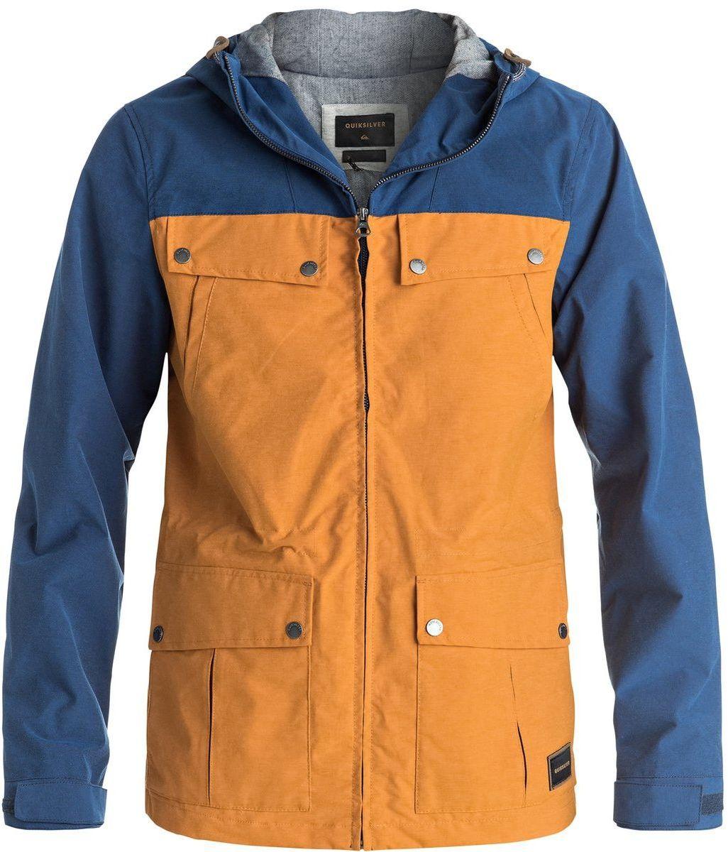 КурткаEQYJK03292-NMVHМужская куртка для Quiksilver выполнена из качественного материала. Модель с длинными рукавами и капюшоном застегивается на застежку-молнию. Изделие дополнено карманами и липучками на манжетах рукавов.