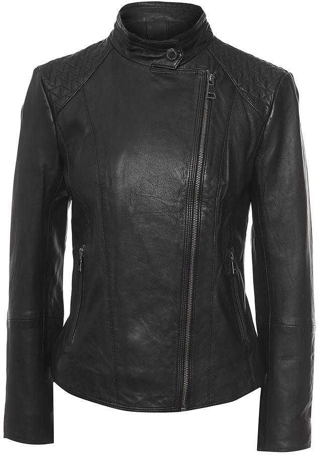 КурткаB17-11804_200Куртка женская Finn Flare выполнена из натуральной кожи. Модель с воротником- стойкой и длинными рукавами застегивается на застежку-молнию.