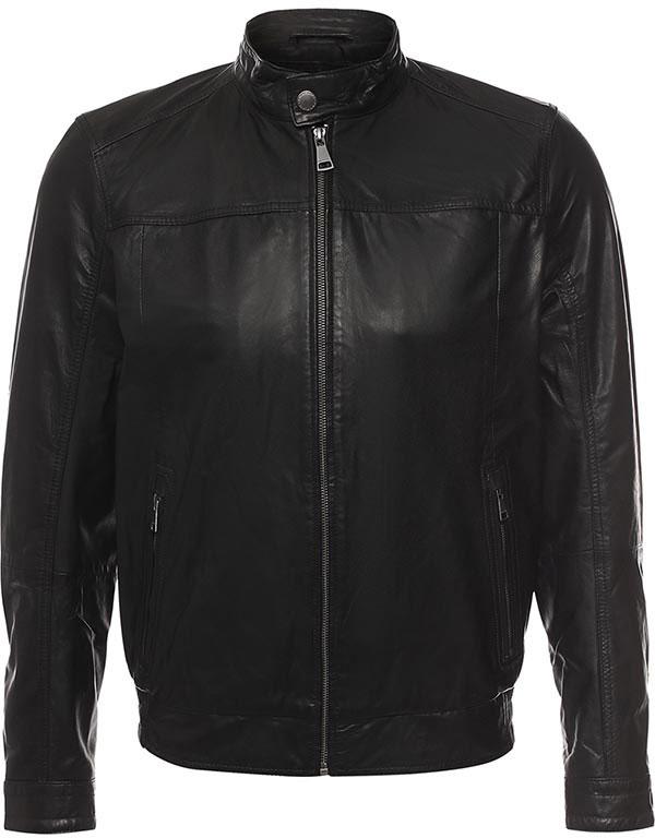 КурткаB17-21801_101Куртка мужская Finn Flare выполнена из натуральной кожи. Модель с длинными рукавами и воротником-стойкой застегивается на застежку-молнию.