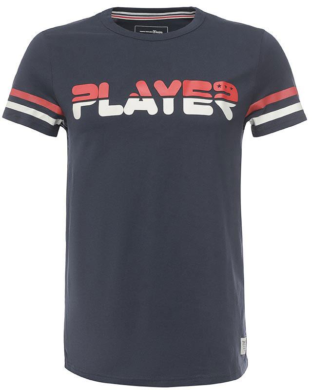Футболка1037251.02.12_4491Мужская футболка Tom Tailor Denim выполнена из натурального хлопка. Модель с круглым вырезом горловины и короткими рукавами оформлена оригинальным принтом.