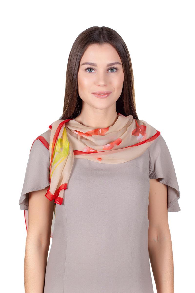 ШарфQA-11708-6Стильный шарфик Sophie Ramage изготовлен из шелка и полиэстера. Изделие оформлено оригинальным принтом.