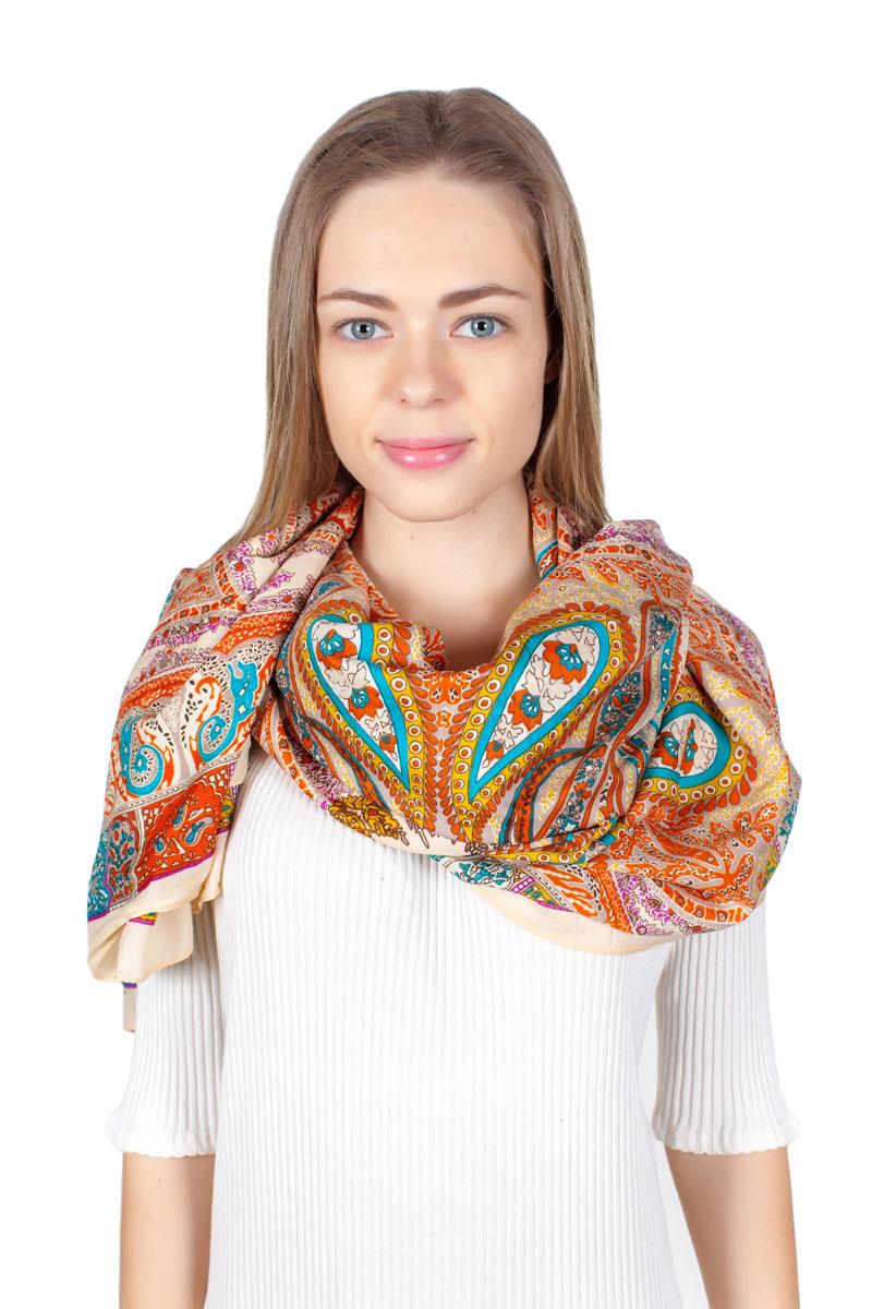 ПлатокYY-11713-12Стильный платок изготовлен из модала и шелка. Изделие оформлено оригинальным принтом.