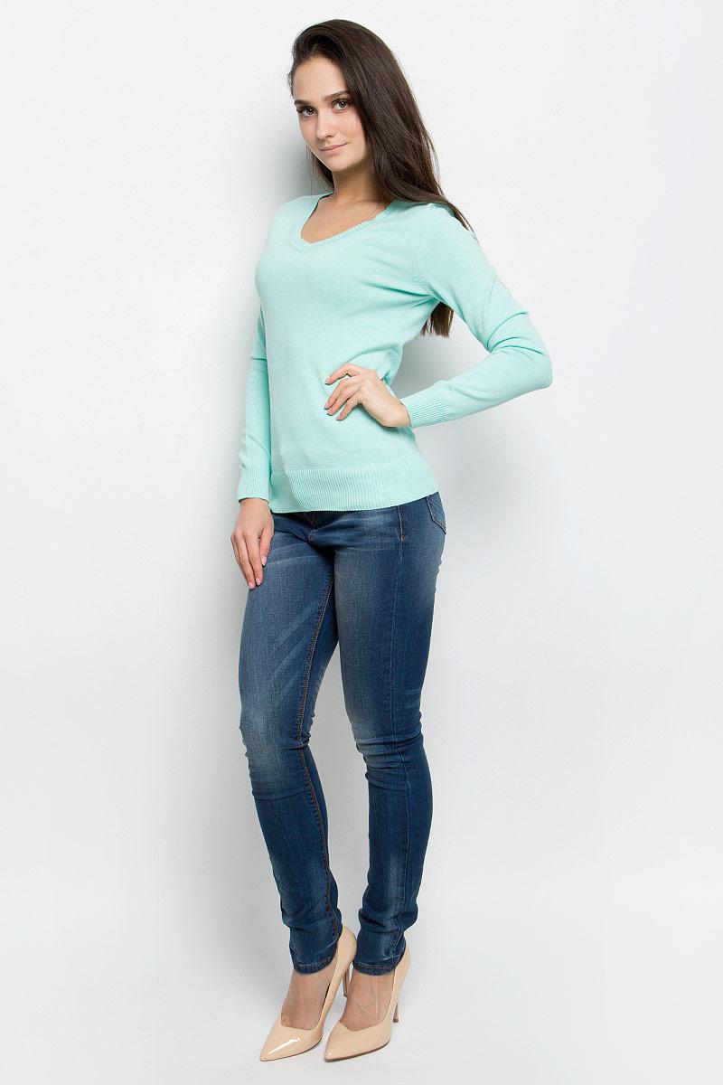 B137201_Silver MelangeЭлегантный женский пуловер Baon выполнен из натурального хлопка. Модель с V- образным вырезом горловины и длинными рукавами. Низ и манжеты изделия выполнены мелкой резинкой.