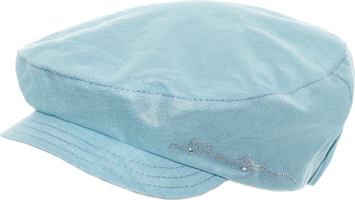 Кепка392682Кепка женская Level Pro изготовлена из качественного натурального льна. Ткань сзади собрана на внутреннюю резинку. У модели имеется небольшой мягкий козырек. С одного края кепка декорирована металлическими стразами. Размер, доступный для заказа, является обхватом головы.