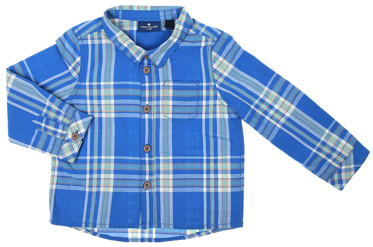 Рубашка2032974.00.22_6834Рубашка для мальчика Tom Tailor выполнена из натурального хлопка. Рубашка с длинными рукавами и отложным воротником застегивается на пуговицы спереди. Манжеты рукавов также застегиваются на пуговицы. Рубашка оформлена принтом в клетку. На груди расположен накладной карман.