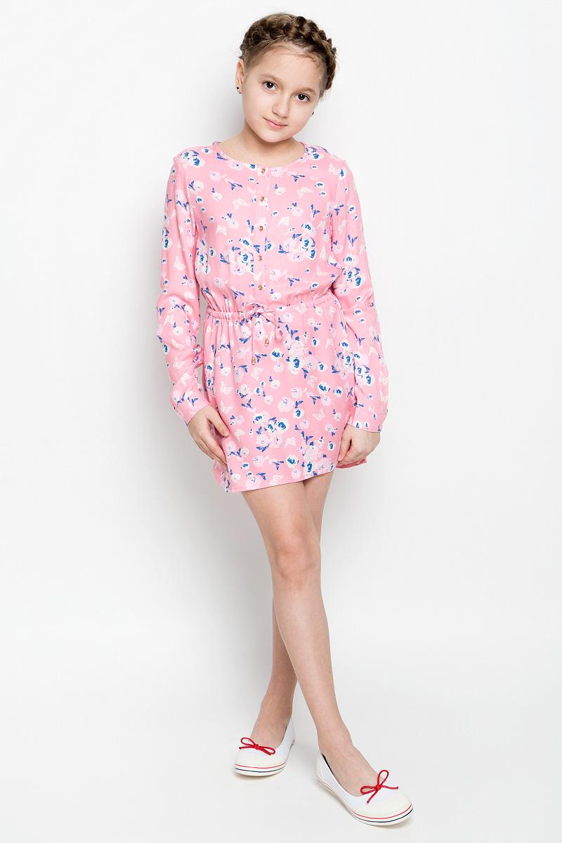 ПлатьеD-617/430-7131Нежное платье для девочки Sela изготовлено из качественной вискозы. Модель с круглым вырезом горловины и длинными рукавами застегивается спереди на пять пуговиц. Манжеты на рукавах также имеют застежки-пуговицы. В поясе платье дополнено регулирующим шнурком. Оформлено изделие оригинальным принтом.