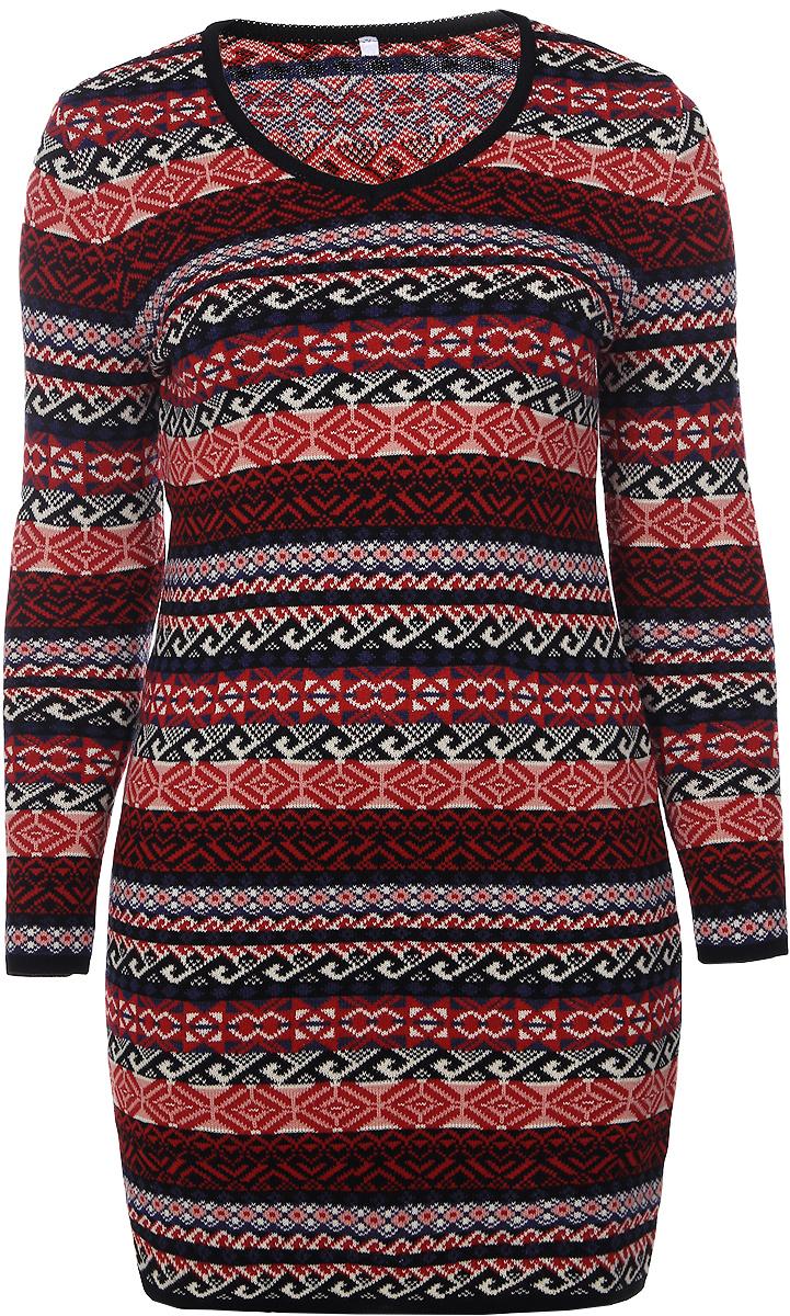 Платье975Платье Milana Style выполнено из качественного материала. Модель с V-образным вырезом горловины и длинными рукавами оформлена геометрическим принтом.