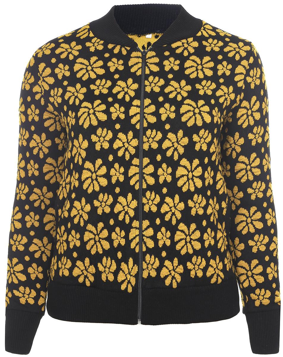 Кофта957Удобная женская кофта Milana Style изготовлена из пряжи ПАНа с добавлением шерсти. Модель с длинными рукавами и воротником-стойка застегивается спереди на застежку-молнию. Воротник, низ кофты и манжеты рукавов выполнены из вязанной резинки. Оформлено изделие цветочным принтом и дополнено в боковых швах двумя втачными карманами.