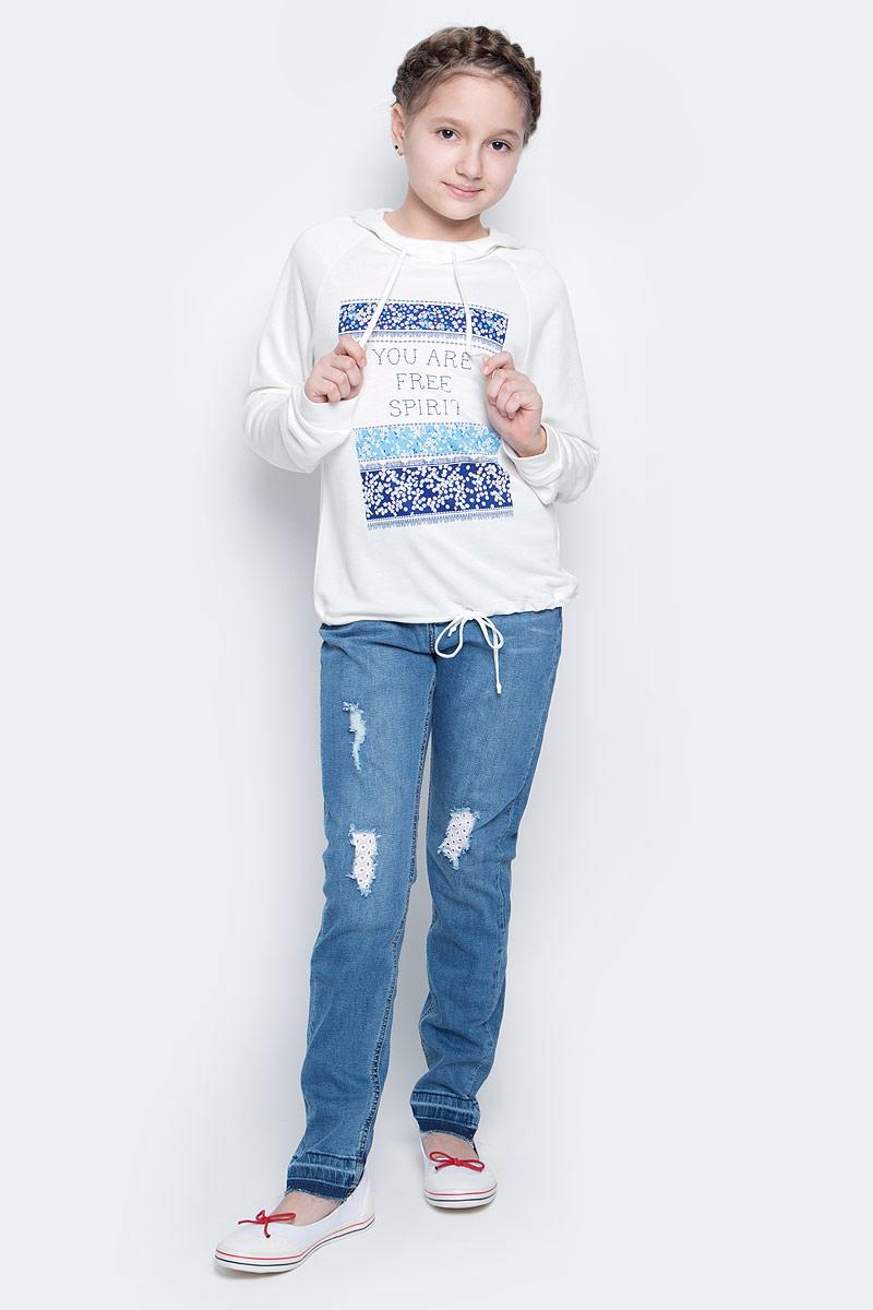 Футболка с длинным рукавомSt-613/141-7151Лонгслив для девочки Sela выполнен из вискозы с добавлением полиэстера. Модель с капюшоном и длинными рукавами реглан. Низ модели и капюшон дополнены утягивающими шнурками.