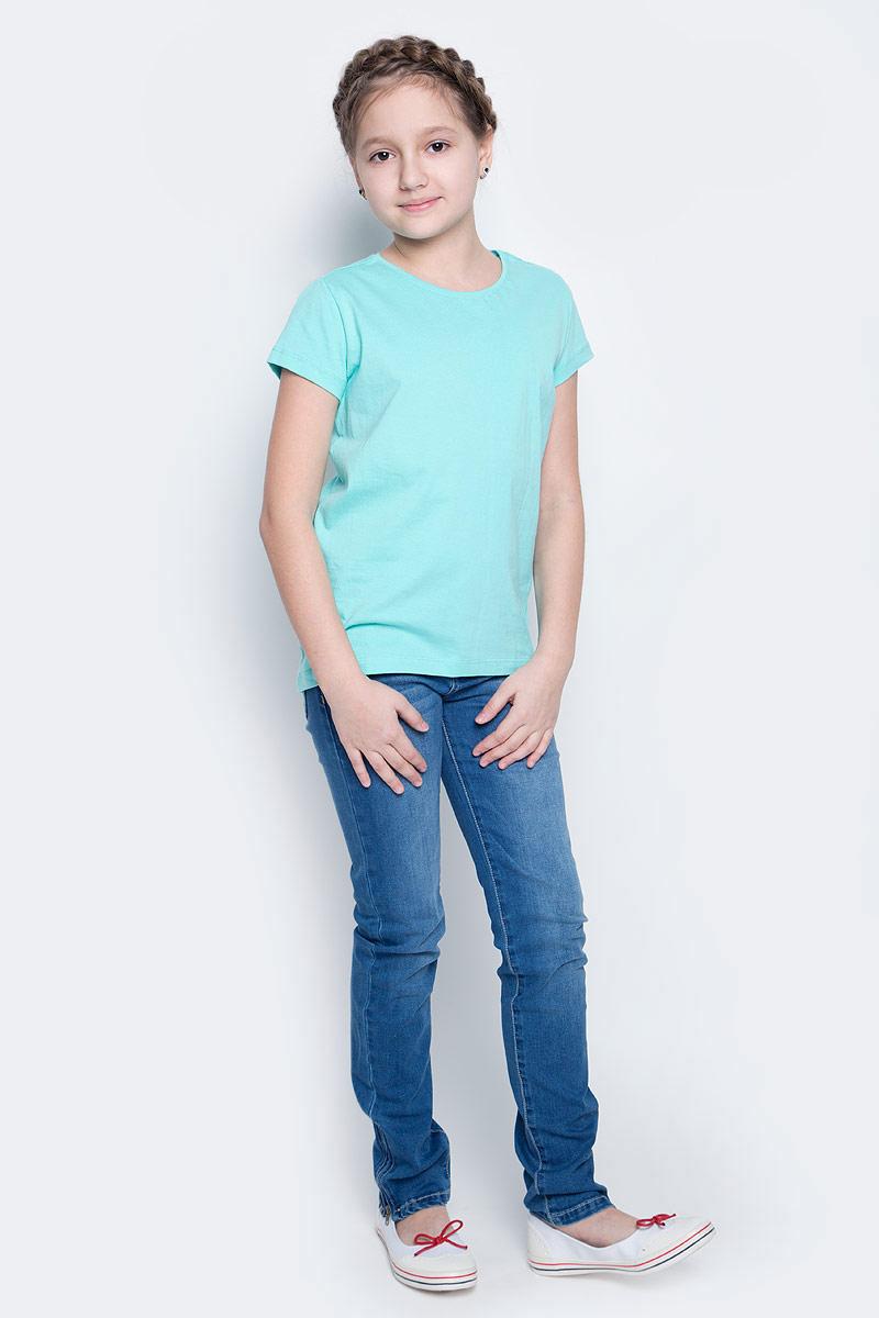 Ts-611/341-7141Футболка для девочки Sela изготовлена из высококачественного натурального хлопка. Модель с короткими рукавами и круглым вырезом горловины имеет однотонную расцветку.