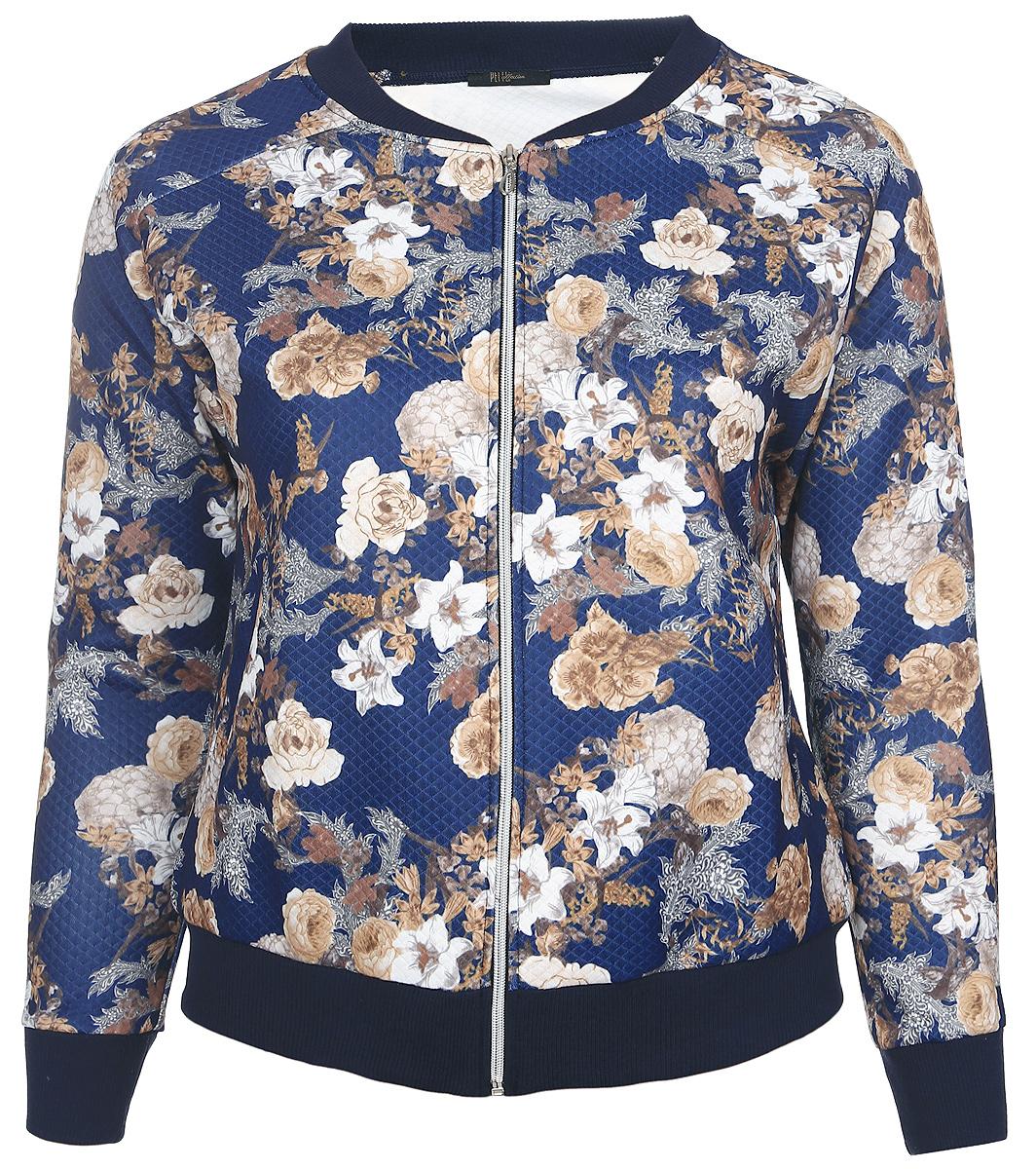 Куртка91645Легкая женская куртка Pettli Collection изготовлена из качественного полиэстера. Модель с небольшим воротником-стойка и длинными рукавами-реглан застегивается спереди на застежку молнию. Воротник, низ изделия и рукава дополнены трикотажными резинками. Куртка имеет по бокам два прорезных кармана. Оформлена модель цветочным принтом.