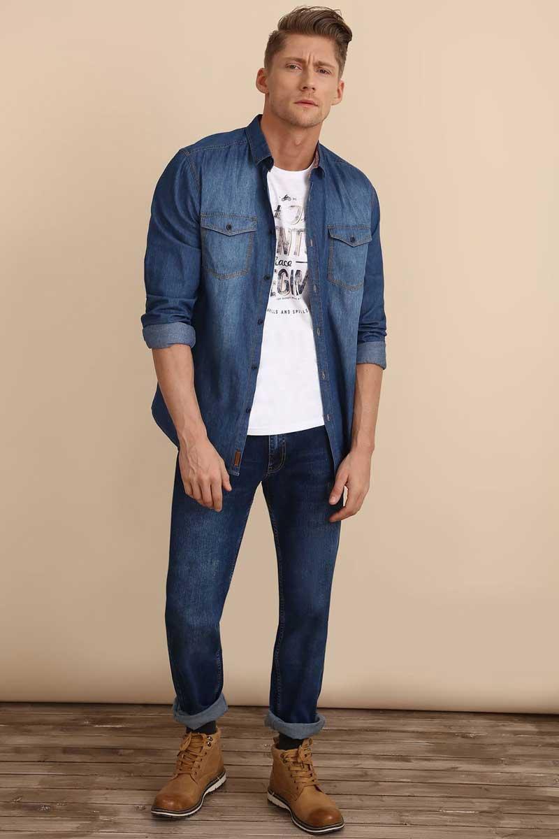РубашкаSKL2223NIРубашка мужская Top Secret выполнена из 100% хлопка. Модель с отложным воротником и длинными рукавами застегивается на пуговицы.