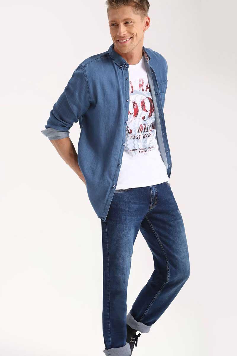 РубашкаSKL2240NIРубашка мужская Top Secret выполнена из 100% хлопка. Модель с отложным воротником и длинными рукавами застегивается на пуговицы.