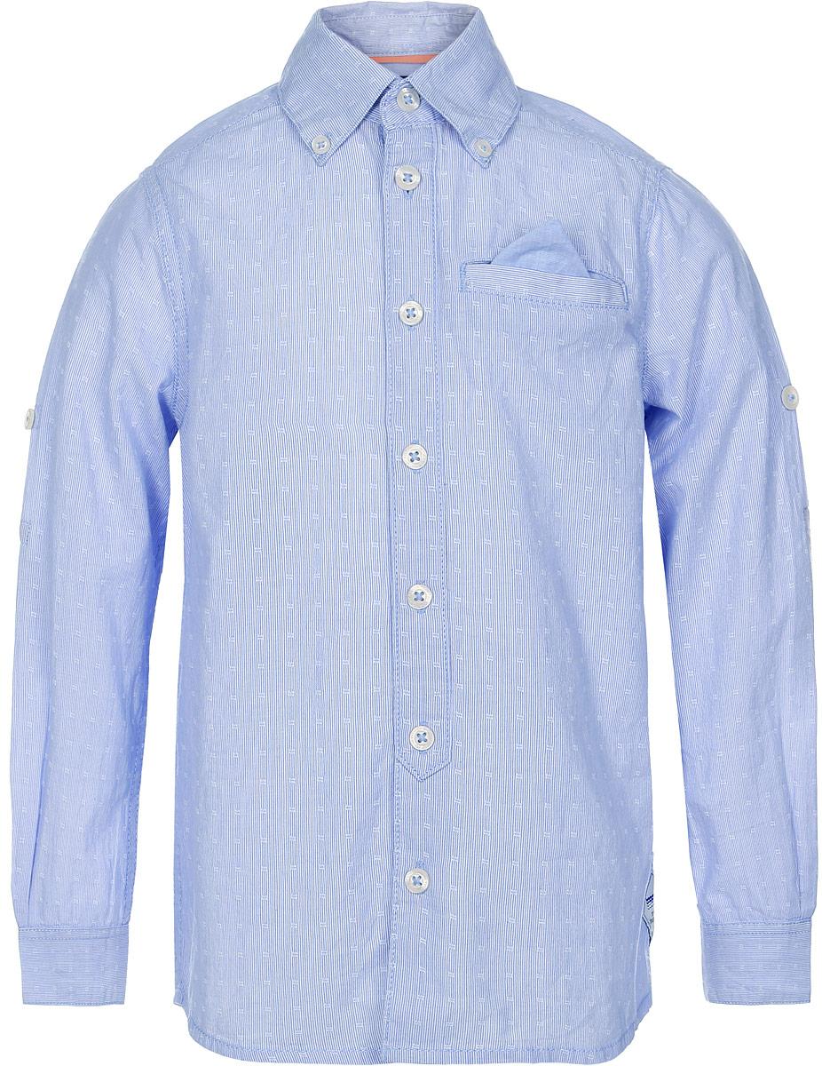 Рубашка2032942.00.82_1000Рубашка для мальчика Tom Tailor выполнена из натурального хлопка. Модель с отложным воротником и длинными рукавами застегивается на пуговицы. Спереди изделие дополнено имитацией прорезного кармана с платочком.