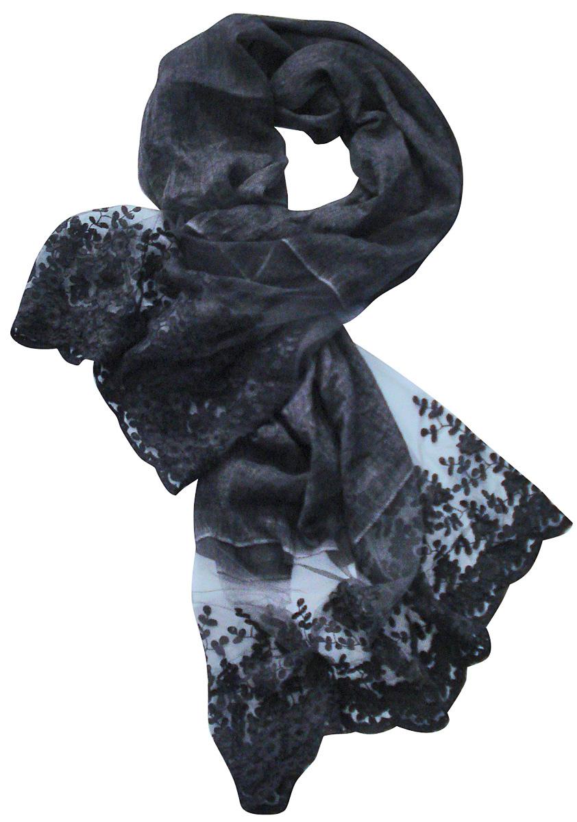 Палантин3217BСтильный палантин Laccom изготовлен из вискозы и полиэстера. Модель оформлена рисунком с прозрачными мотивами. Изделия Laccom приятные на ощупь и подойдут к любому стилю.