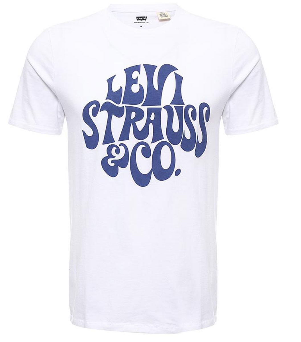 Футболка2249101710Мужская футболка Levis® изготовлена из натурального хлопка. Модель выполнена с круглой горловиной и короткими рукавами. Футболка декорирована крупным принтом с названием бренда.