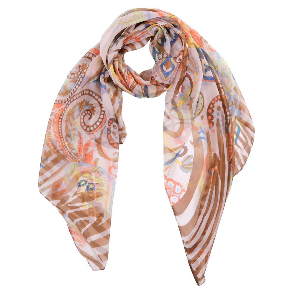 ШарфTUT430-2Элегантный женский шарф от итальянского бренда Fabretti имеет неповторимую мягкость и легкость фактуры. Красочное сочетание цветов позволило дизайнерам создать изысканную модель, которая станет изюминкой любого весеннего образа.