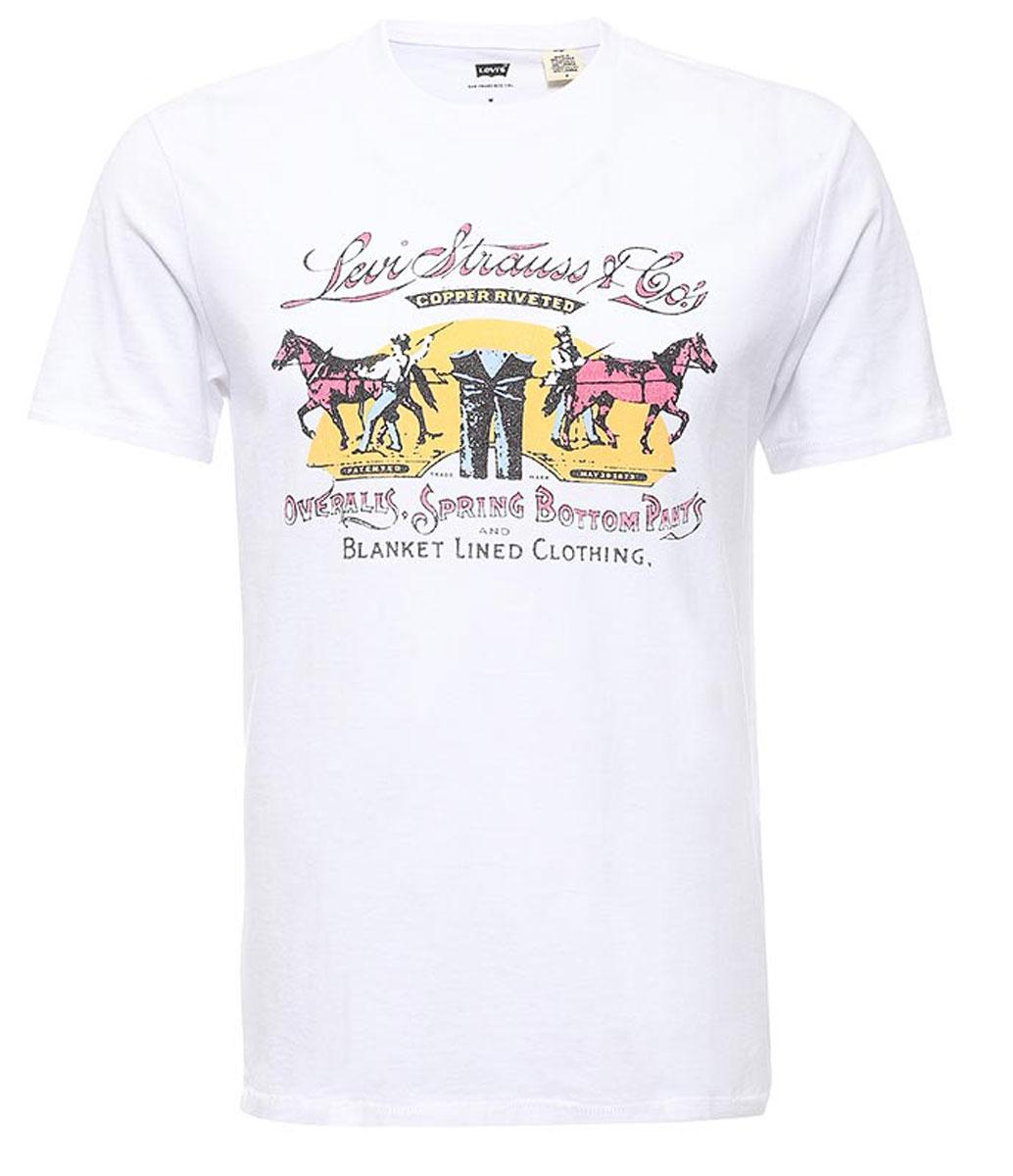 Футболка1778302710Мужская футболка Levis® изготовлена из качественного натурального хлопка. Модель прямого кроя выполнена с круглой горловиной и короткими рукавами. На груди модель дополнена оригинальным принтом.