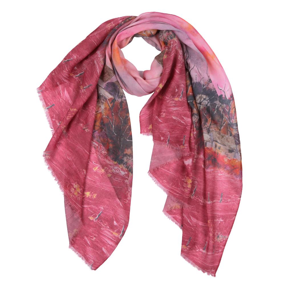 ШарфF1604-3Элегантный женский шарф от итальянского бренда Fabretti имеет неповторимую мягкость и легкость фактуры. Красочное сочетание цветов позволило дизайнерам создать изысканную модель, которая станет изюминкой любого весеннего образа.