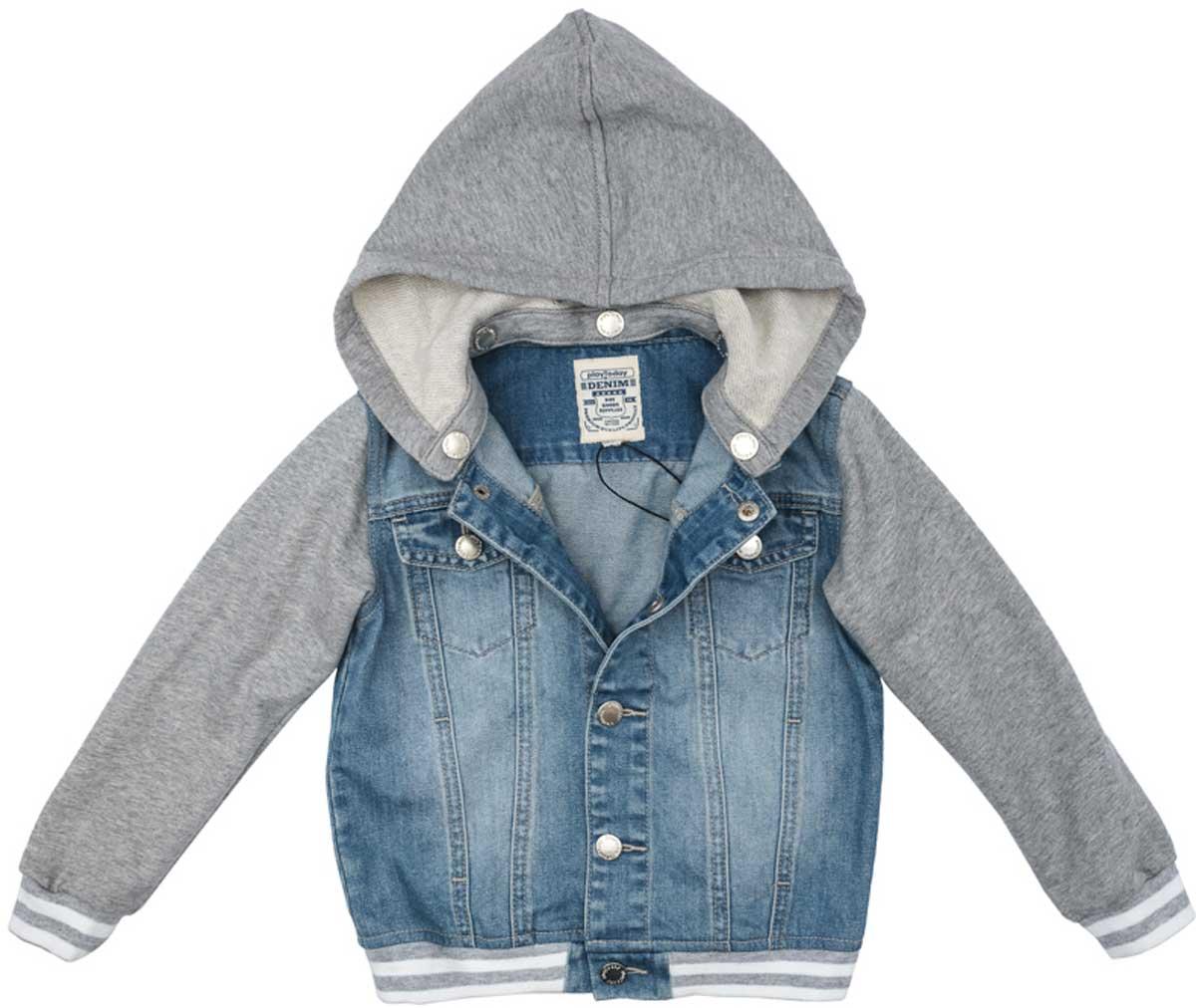 Куртка171155Эта эффектная модная куртка обязательно понравится Вашему ребенку! Модель выполнена из 2-х видов ткани - натуральной джинсовой и трикотажа (капюшон и рукава). При необходимости капюшон можно отстегнуть - он крепится на застежках-кнопках. Мягкие резинки на манжетах и по низу изделия. Джинсовая ткань с эффектом потертости.Преимущества:Рукава и капюшон из мягкого трикотажаКапюшон на застежках-кнопках. Легко отстегиваетсяМягкие резинки на манжетах и по низу изделия