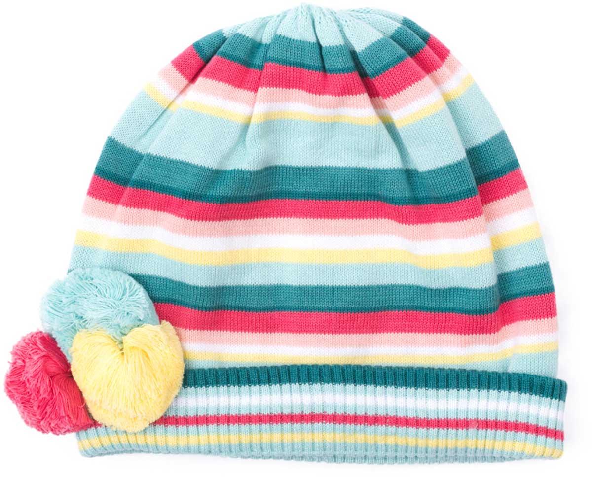 Шапка детская172033Яркая стильная шапка на натуральной подкладке подойдет Вашему ребенку для прогулок в прохладную погоду. Модель сбоку декорирована стильными помпонами. Шапка без завязок, плотно прилегает к голове, комфортна при носке. Преимущества: Мягкий трикотаж Плотно прилегает к голове Комфортна при носке