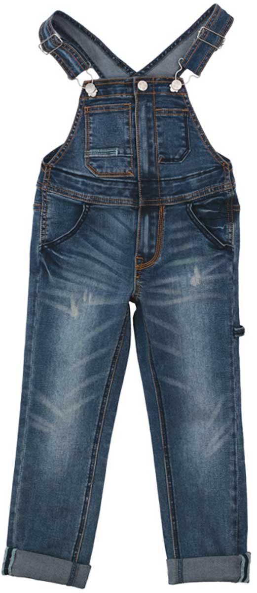 Джинсы172061Полукомбинезон из джинсовой ткани будет незаменимым в любом гардеробе. Хорошо сочетается с футболками и водолазками. Пуговицы - болты являются удачным стильным и практичным дополнением. Мягкая ткань приятна к телу. Не сковывает движения ребенка. Модель с высокой грудкой и широкими бретелями. Преимущества: Мягкая ткань не сковывает движения ребенка Модель с высокой грудкой и широкими бретелями