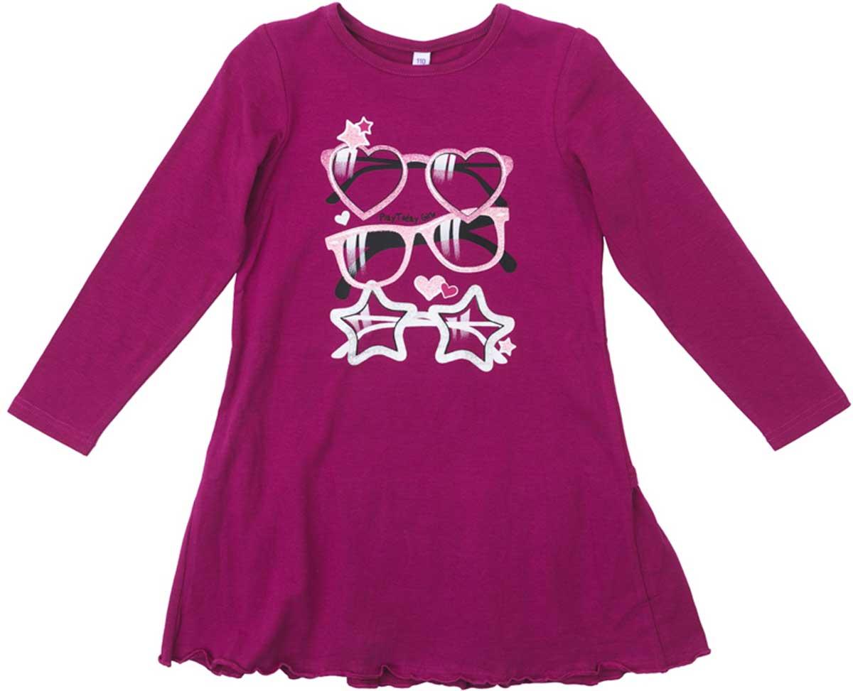Платье172071Платье PlayToday свободного кроя, с округлым вырезом у горловины, насыщенного цвета понравится вашей моднице. Свободный крой не сковывает движений. Приятная на ощупь ткань не раздражает нежную кожу ребенка. Яркий принт является эффектным дополнением данного изделия