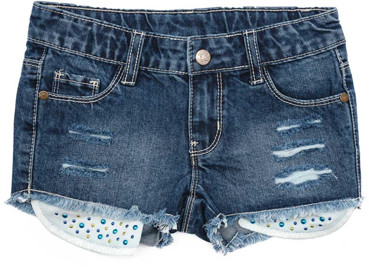 Шорты172106Модные, с прорезями, эффектные джинсовые шорты будут прекрасным дополнением к детскому гардеробу. Выполнены из натурального хлопка, с выпускными карманами, декорированными яркими стразами. Модель на шлевках, можно использовать ремень для удобства посадки шорт по фигуре Преимущества: Мягкая ткань не сковывает движений ребенка Материал приятен к телу и не вызывает раздражений Декорированы яркими стразами