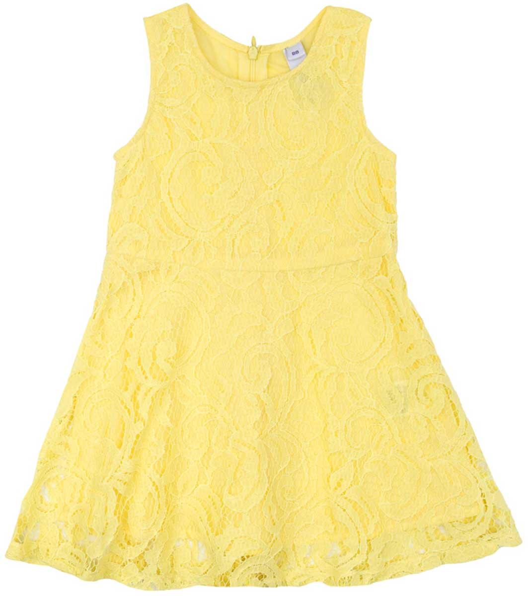 Платье172112Ажурное платье PlayToday, отрезное по талии, с округлым вырезом у горловины, понравится вашей моднице. Свободный крой не сковывает движений. Приятная на ощупь ткань не раздражает нежную кожу ребенка. Модель на подкладке из натурального хлопка. Платье будет прекрасным дополнением к детскому летнему гардеробу.