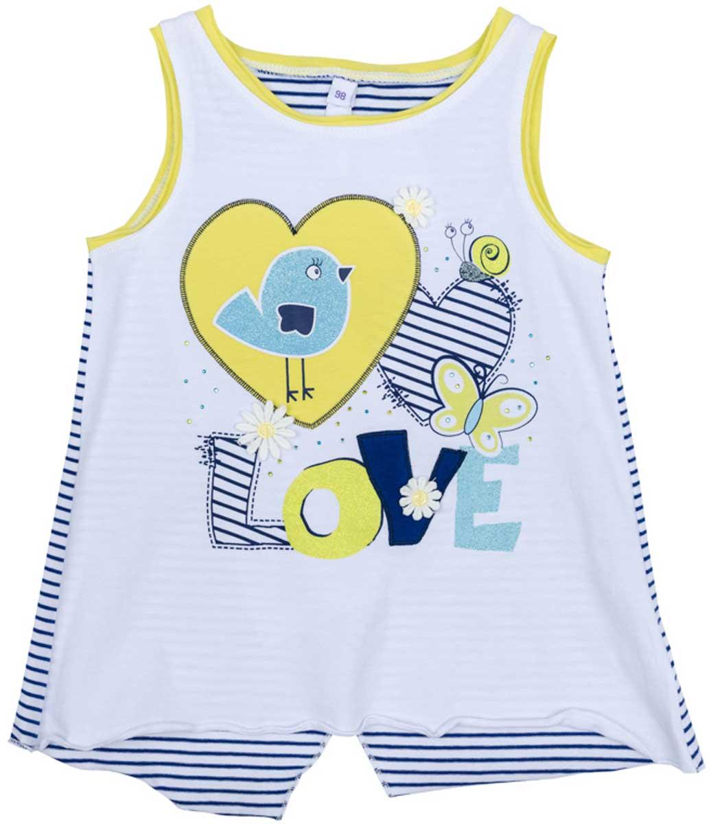 Майка172120Майка для девочки PlayToday кроя будет хорошим дополнением гардероба вашего ребенка. Приятная на ощупь ткань не вызывает раздражений и не сковывает движений ребенка. Яркий стильный принт является достойным украшением данного изделия.