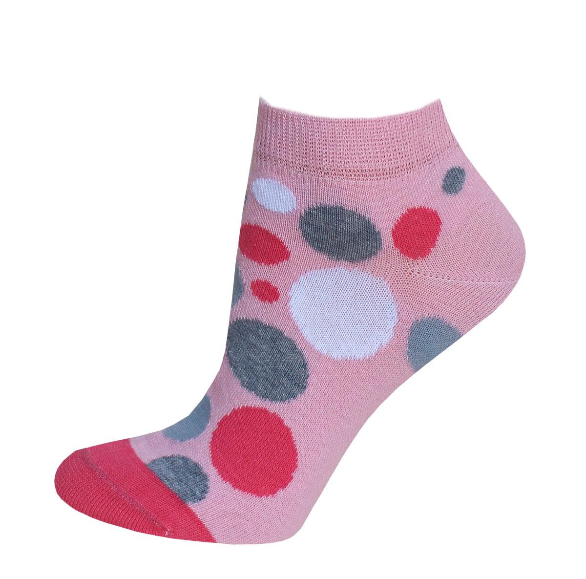 Носки14С1101/066Женские носки Брестские Classic выполнены из хлопка с добавлением полиэстера и эластана. Укороченная модель оформлена принтом с цветными горошками.