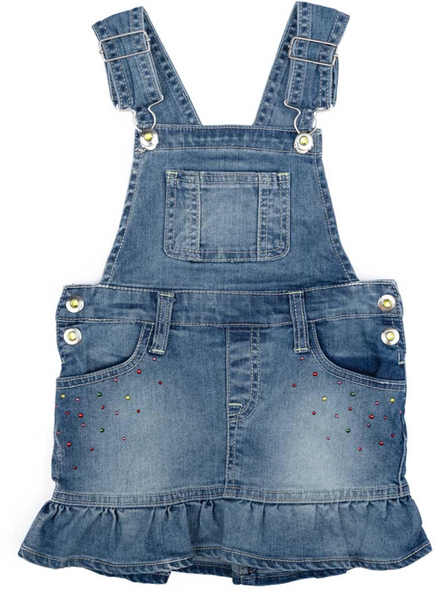 Сарафан172154Эффектный сарафан PlayToday из натуральной джинсовой ткани с эффектом потертости сможет быть одной из базовоых вещей с детском гардеробе. Модель на широких бретелях, с удобными застежками - болтами.