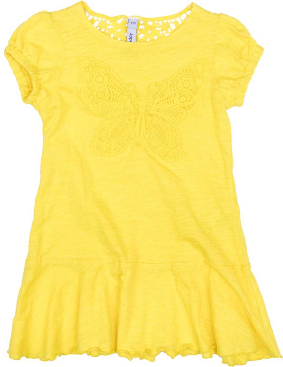 172174Эффектное платье насыщенного цвета из натурального хлопка сможет быть прекрасным дополнением летнего детского гардероба. Модель с заниженной юбкой, на рукавах - фонариках мягкие резинки. Платье на спине декорированно эффектным шитьем, впереди - нежная аппликация.