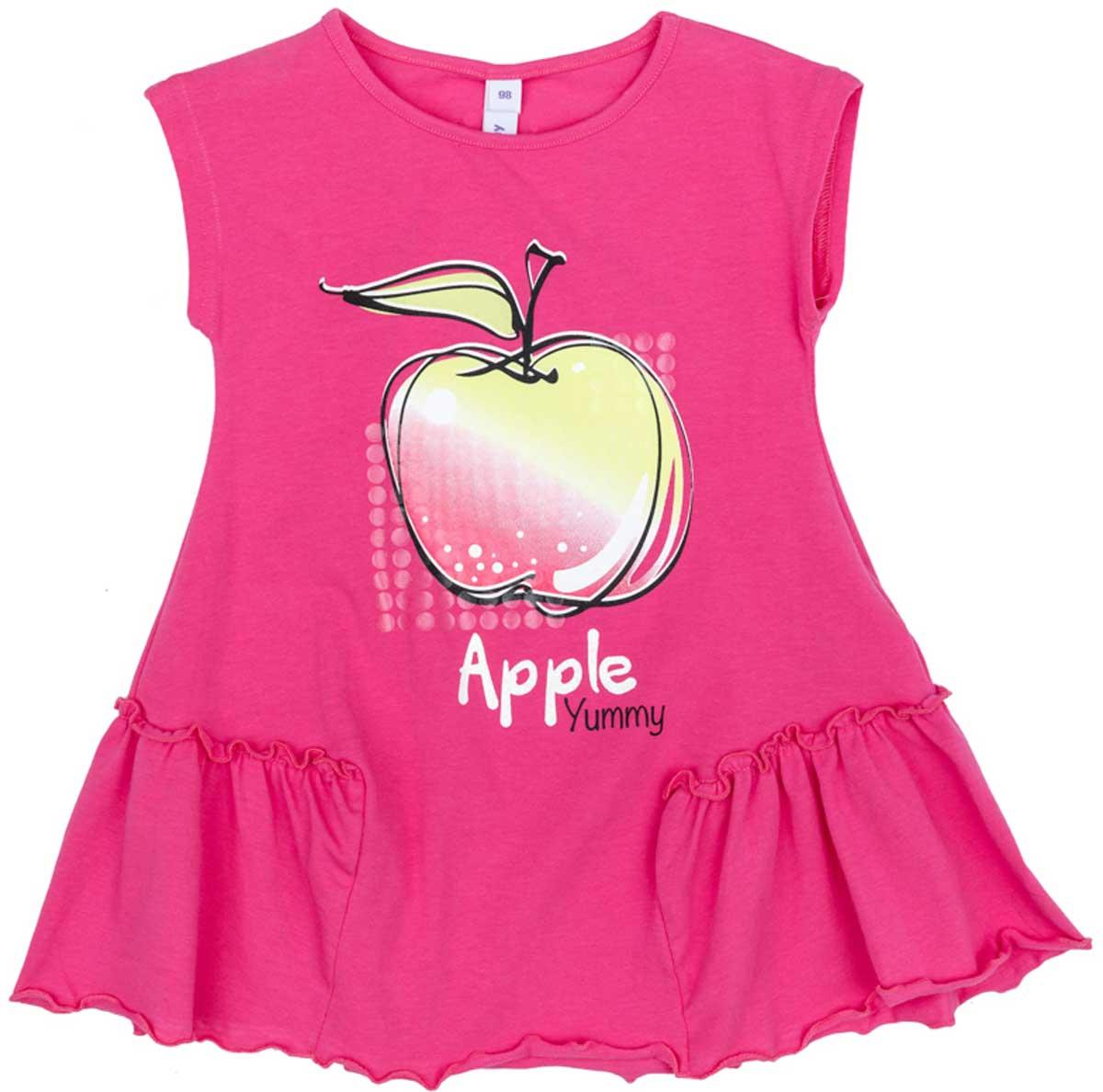 Платье172175Эффектное платье насыщенного цвета из натуральной ткани сможет быть прекрасным дополнением летнего детского гардероба. Модель декорирована ярким принтом. По бокам нестандартные вставки с мягкими оборками.