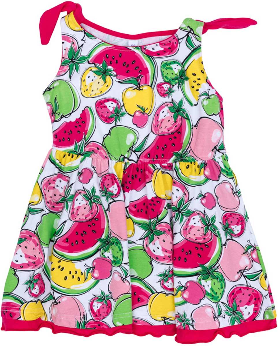 Сарафан172176Эффектный сарафан яркой сочной расцветки сможет дополнить гардероб Вашей модницы! Отрезной по талии, с пышной юбкой. Бретели завязываются на большие узлы.