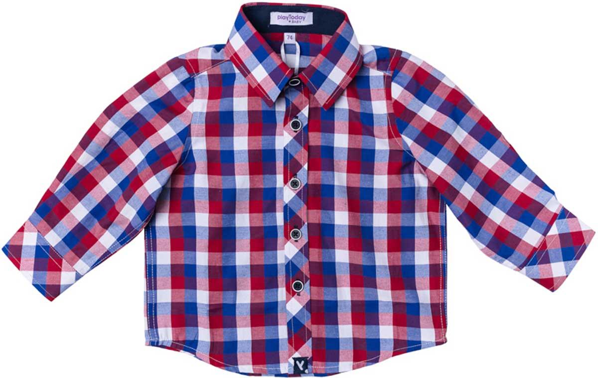 Рубашка177007Рубашка для мальчика PlayToday в стиле кантри. Практична и очень удобна для повседневной носки. Ткань мягкая и приятная на ощупь, не раздражает нежную детскую кожу. Стиль отвечает всем последним тенденциям детской моды. Рубашка с отложным воротничком.