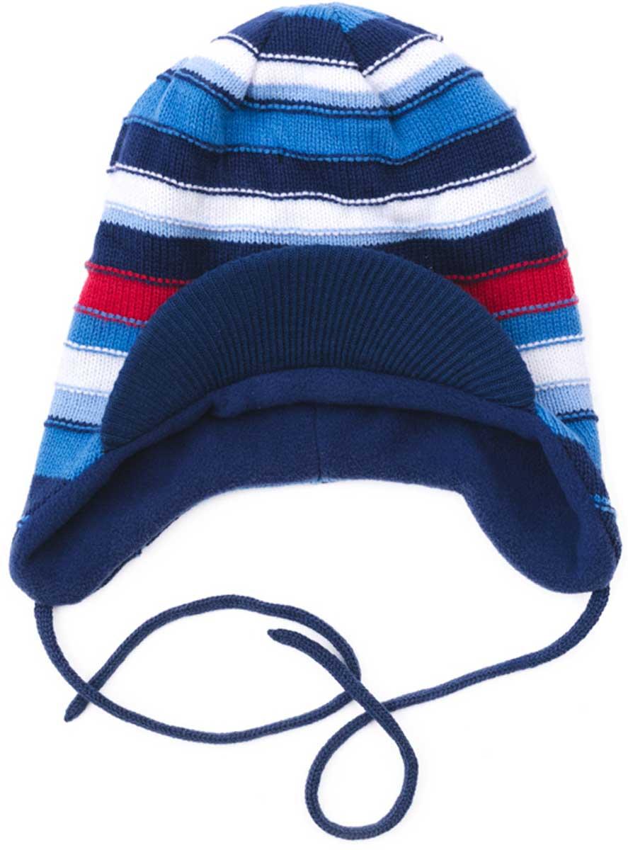 Шапка детская177034Шапка для мальчика PlayToday выполнена из хлопка и акрила с козырьком и на завязках подойдет для прогулок в прохладную погоду. Эргономичная конструкция этой шапки предохранит уши вашего ребенка от сильного ветра. Плотно прилегает к голове. Уважаемые клиенты! Размер, доступный для заказа, является обхватом головы.