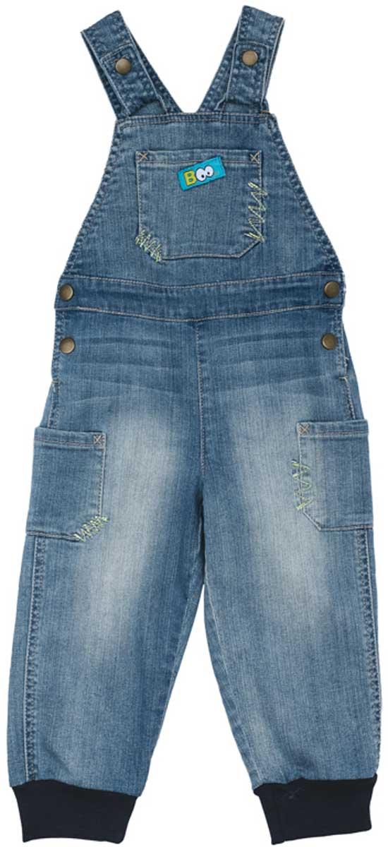 Полукомбинезон177057Полукомбинезон из натуральной джинсовой ткани с эффектом потертости сможет быть одной из базовых вещей детского гардероба. Низ штанин на мягких трикотажных резинках. Изделие удобно снимать и одевать за счет удобных застежек - кнопок на поясе и на бретелях.