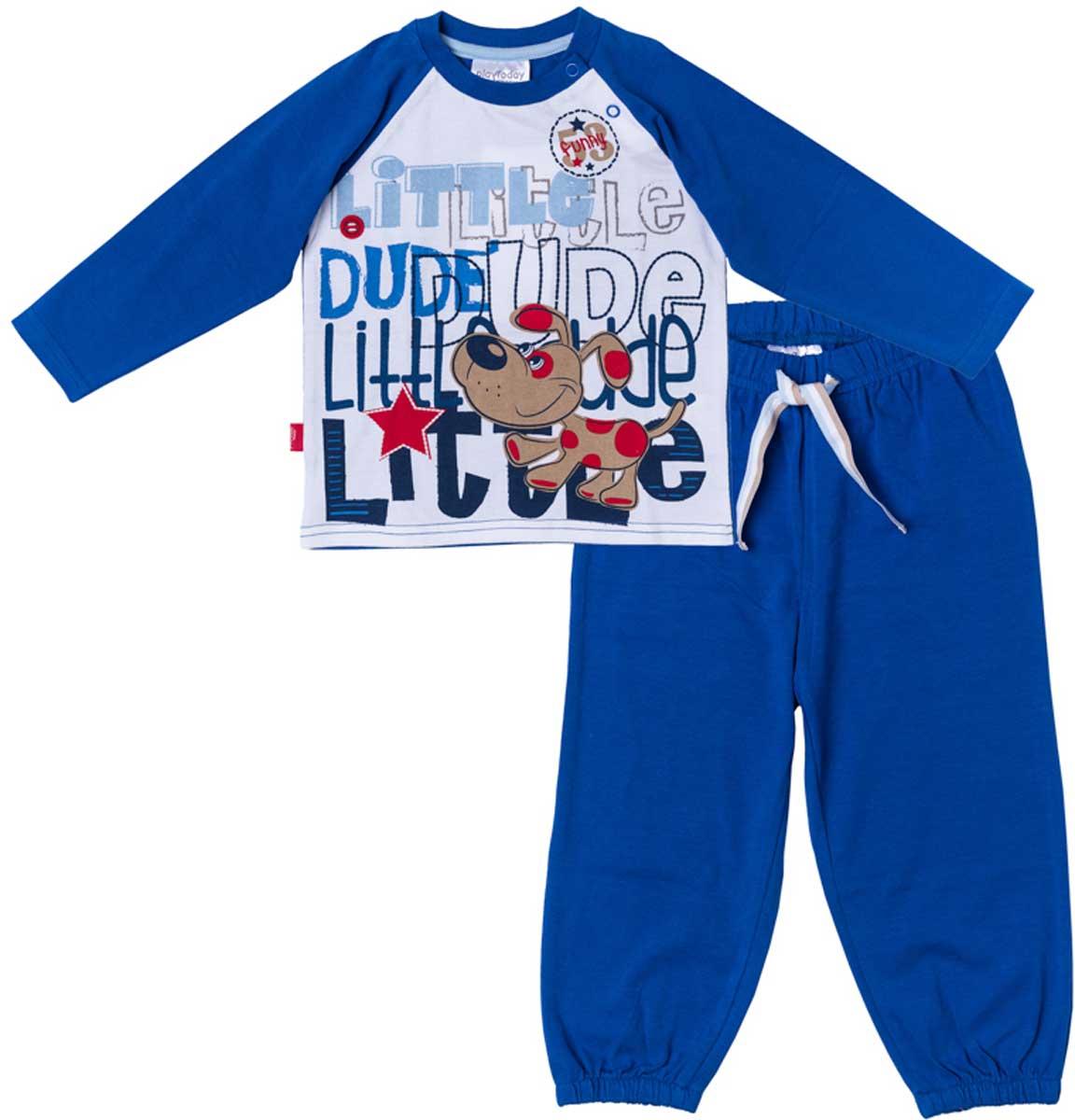 Комплект одежды177029Комплект для мальчика PlayToday состоящий из лонгслива и брюк прекрасно подойдет как для домашнего использования, так и для прогулок на свежем воздухе. Мягкий, приятный к телу материал не сковывает движений. Яркий стильный принт является достойным украшением данного изделия. Брюки на мягкой удобной резинке с удобным регулируемым шнуром - кулиской. Низ брючин отделан мягкими резинками. Для удобства снимания и одевания на горловине расположены две застежки - кнопки.