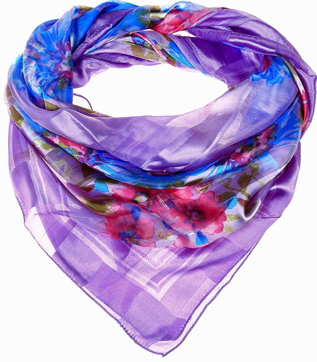 ПлатокRo0118-12-1Стильный женский платок Vittorio Richi изготовлен из высококачественного полиэстера с добавлением шелка. Платок оформлен эффектом деворе полоса и оригинальным цветочным принтом. Отделка краев - оверлок.