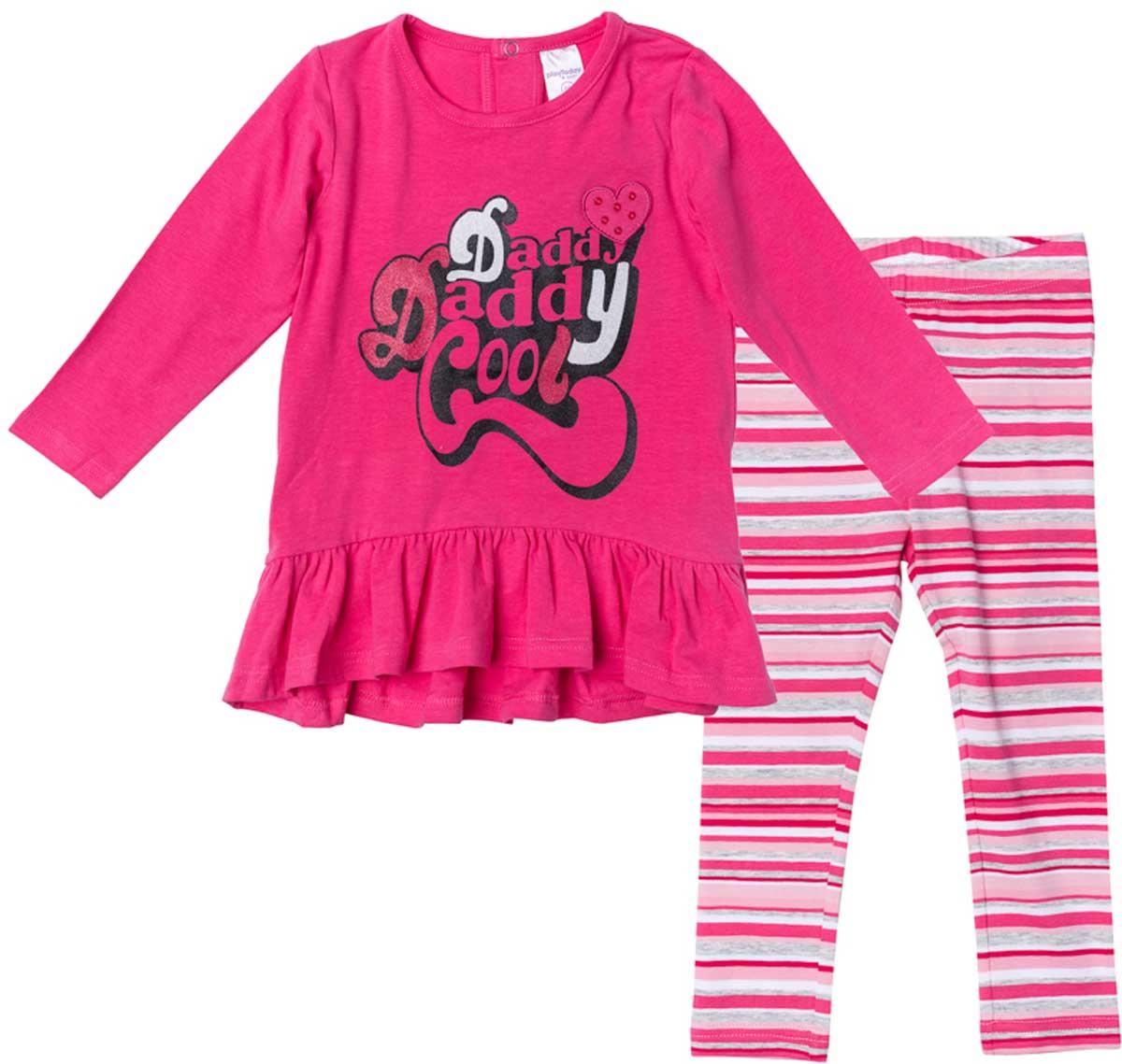 Комплект одежды178017Комплект из платья и брюк-леггинсов прекрасно подойдет как для домашнего использования, так и для прогулок на свежем воздухе. Мягкий, приятный к телу, материал не сковывает движений. Яркий стильный принт является достойным украшением данного изделия. Леггинсы на мягкой удобной резинке, которвая не сдавливает живот ребенка. Платье с заниженной юбкой.Преимущества:Свободный классический крой не сковывает движения ребенкаПодходит в качестве базовой вещи для повседневного гардеробаЯркий стильный принт