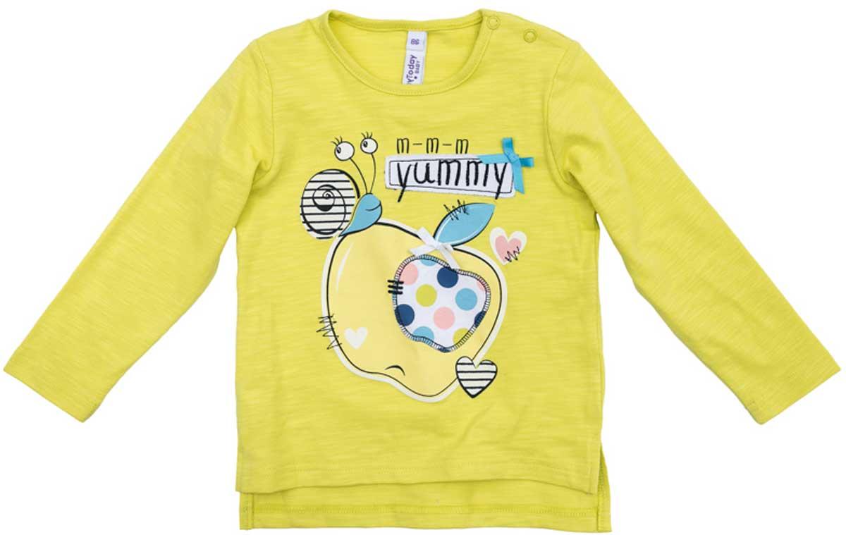 Футболка с длинным рукавом178064Лонгслив для девочки PlayToday свободного классического кроя прекрасно подойдет как для домашнего использования, так и для прогулок на свежем воздухе. Можно использовать в качестве базовой вещи повседневного гардероба вашего ребенка. Для удобства снимания и одевания у горловины расположены две застежки - кнопки.