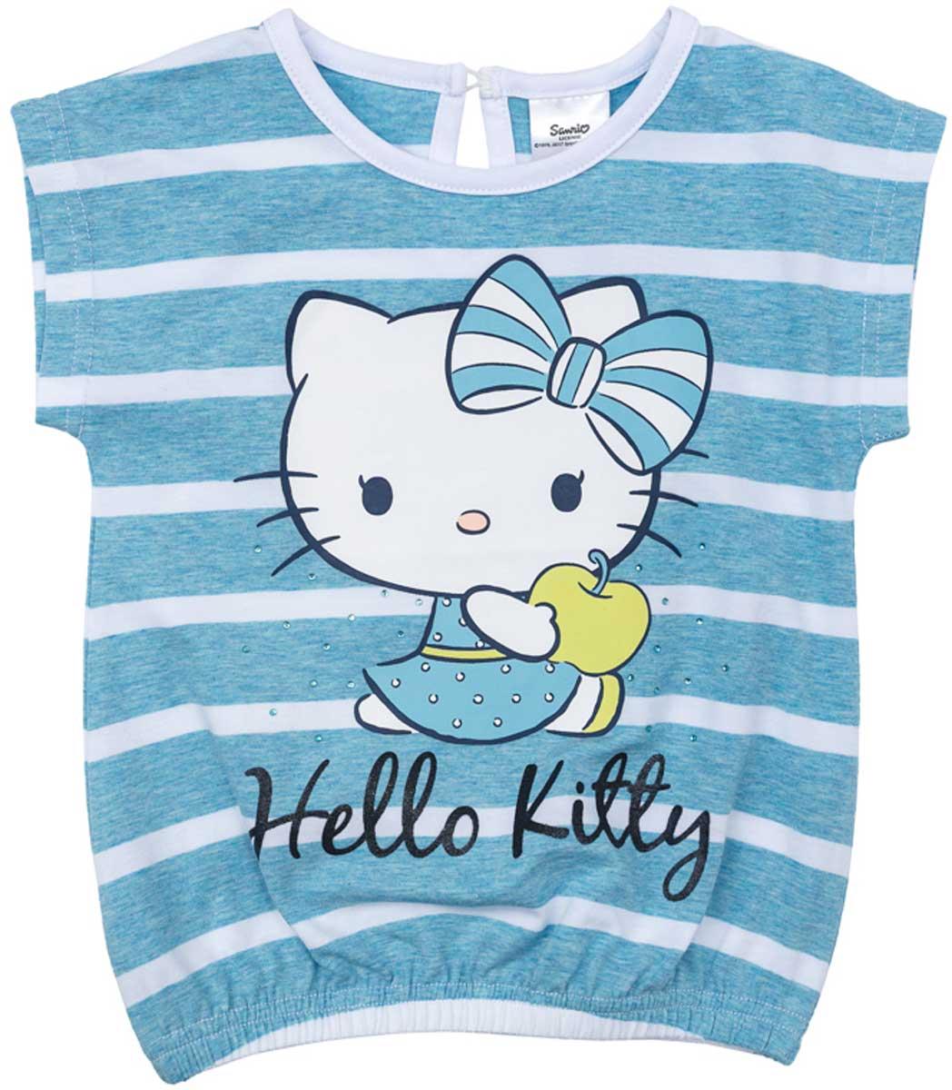 Футболка672102Футболка для девочки PlayToday свободного классического кроя прекрасно подойдет как для домашнего использования, так и для прогулок на свежем воздухе. Можно использовать в качестве базовой вещи повседневного гардероба вашего ребенка. Яркий стильный лицензированный принт Hello Kitty является достойным украшением данного изделия.